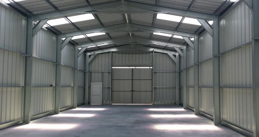 Interior of a metal hall